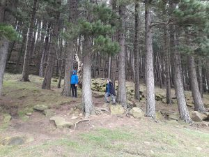Bright Futures School - Sahil and Henry in woods at Dovestone